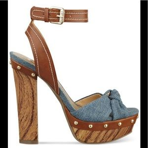 GUESS Chunky Heel Jean & Faux Leather Heels